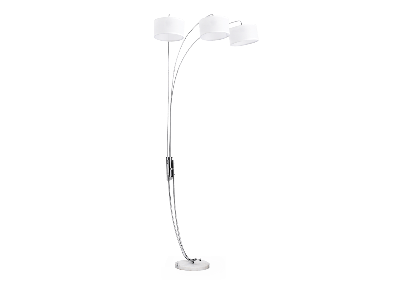 Silver Grey Metal Floor Lamp with White Shade product photo Front View L