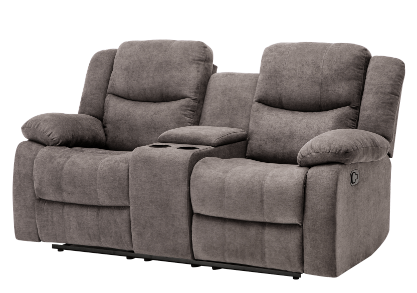 Fabric Reclining Loveseat with Console - Grey product photo Front View L