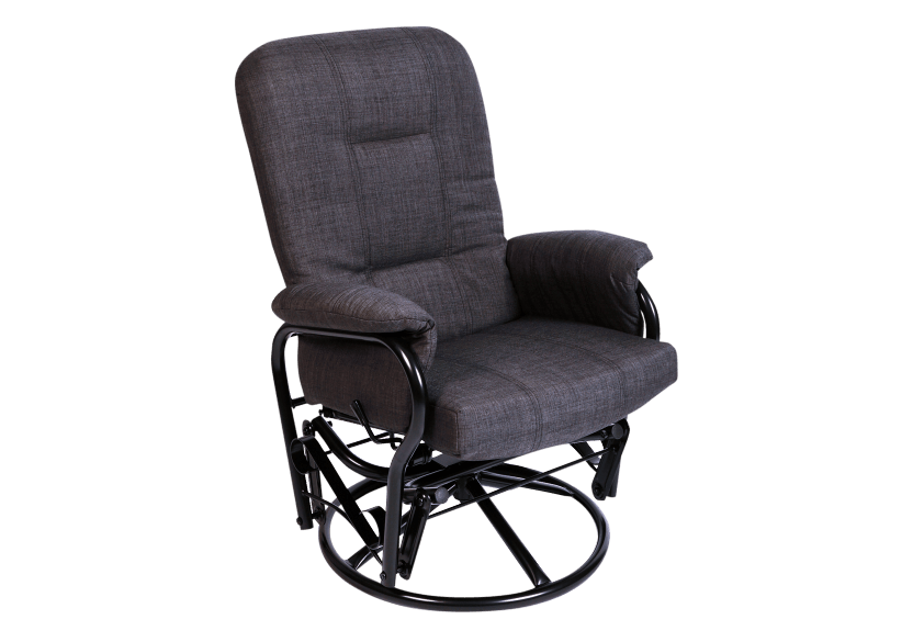 Swivel Rocker Fabric Recliner - Dark Grey product photo Front View L