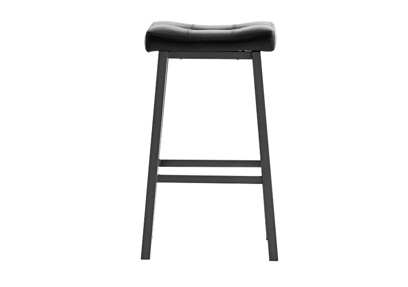 Stool with Laminated Leather Seat - Dark brown product photo
