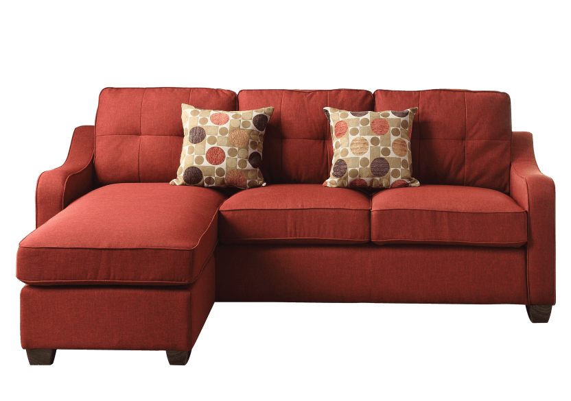 Fabric Reversible Sectional Sofa with Decorative Pillows - Red product photo Front View L