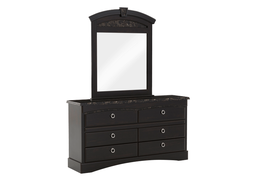 6 Drawer Dresser and Matching Mirror - Dark Brown product photo Front View L