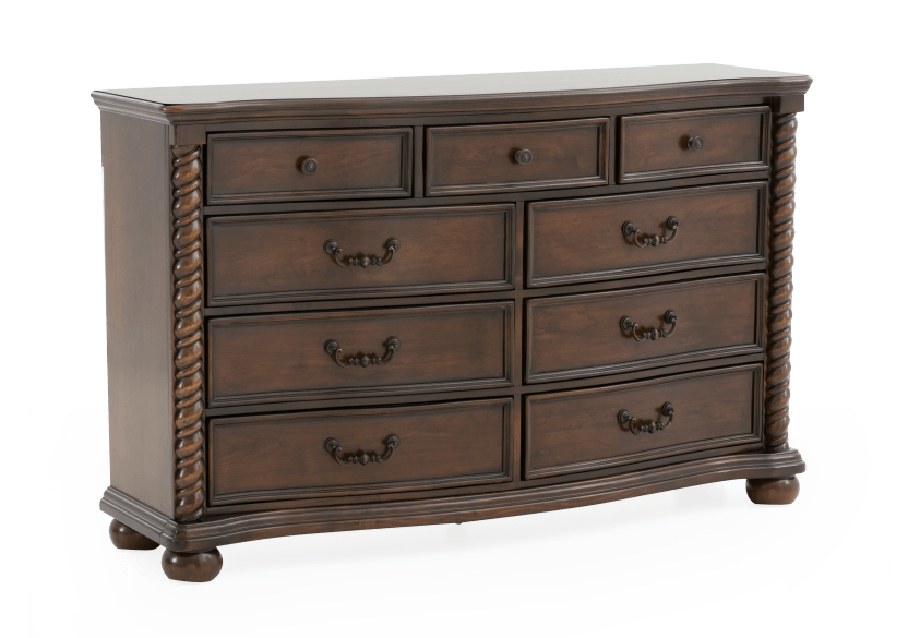 9 Drawer Pine Dresser - Dark Brown product photo Front View L