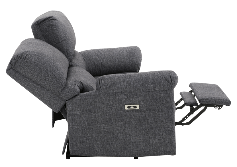 Elran Fabric Reclining Motorized Loveseat - Grey product photo other05 L