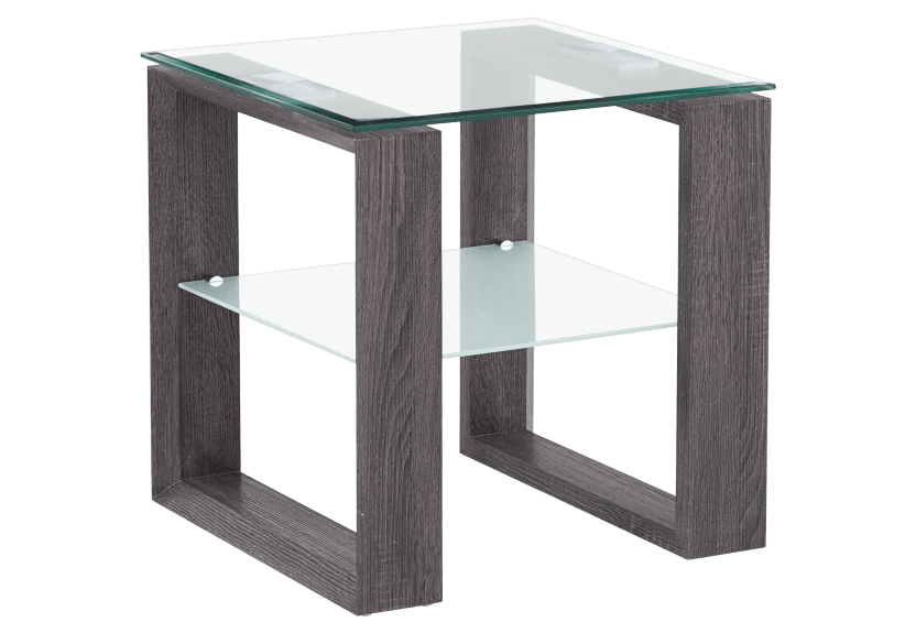 Side Table with Glass Top - Grey product photo Front View L