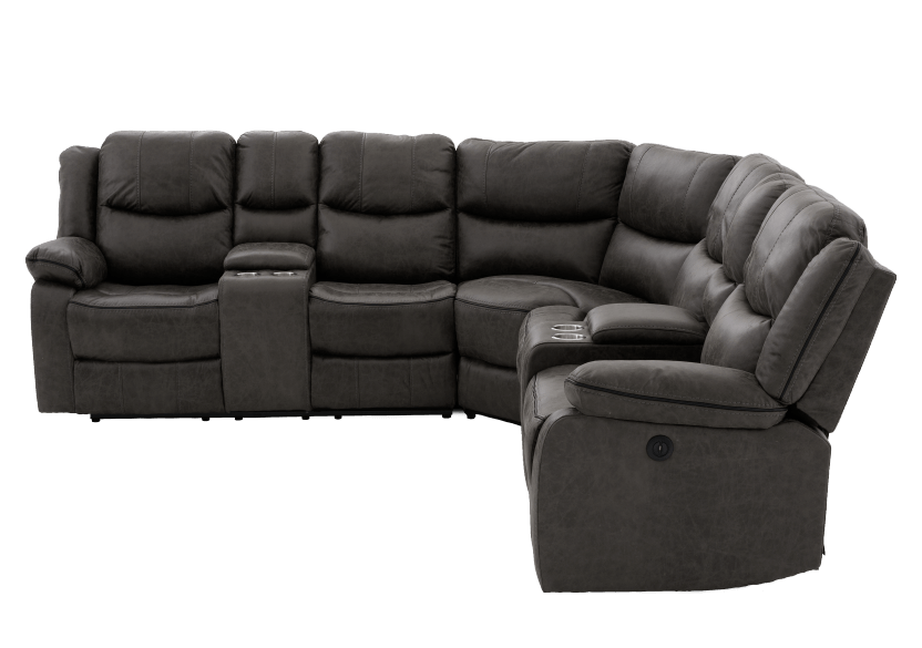 Reclining Electric Fabric Sectional Sofa with Consoles - Dark Grey product photo Front View L
