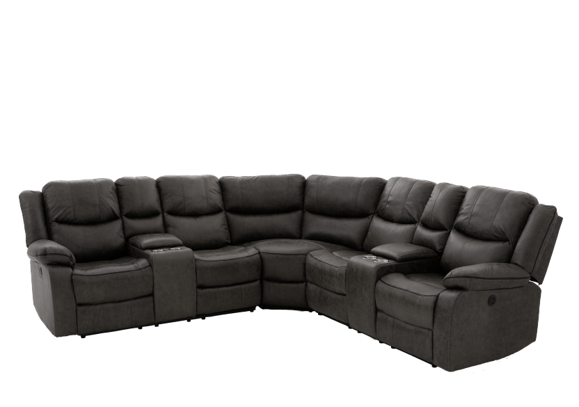 Reclining Electric Fabric Sectional Sofa with Consoles - Dark Grey product photo other01 L