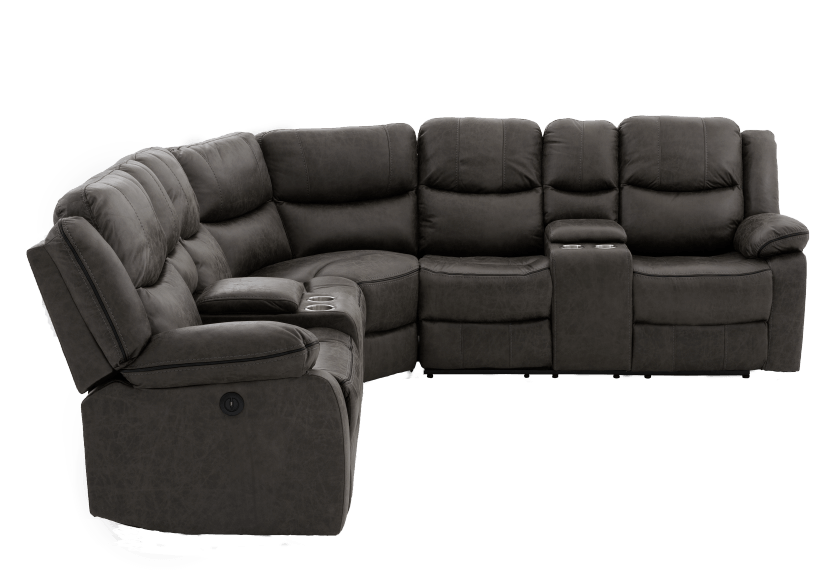 Reclining Electric Fabric Sectional Sofa with Consoles - Dark Grey product photo other02 L