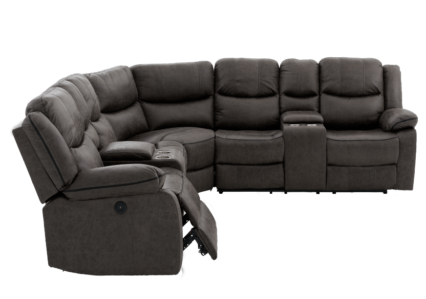 Reclining Electric Fabric Sectional Sofa with Consoles - Dark Grey product photo other03 L