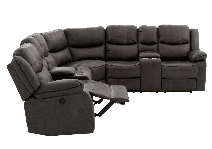 Reclining Electric Fabric Sectional Sofa with Consoles - Dark Grey product photo other04 L