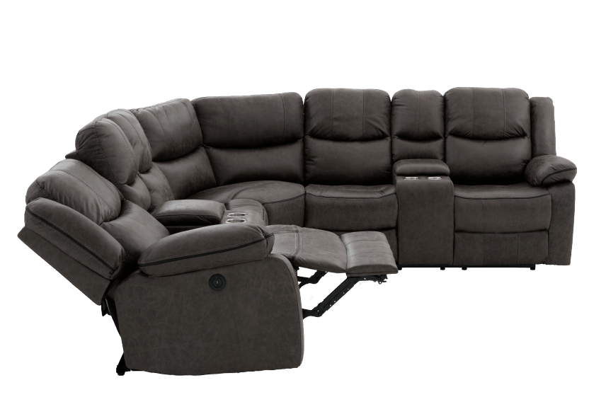 Reclining Electric Fabric Sectional Sofa with Consoles - Dark Grey product photo other05 L
