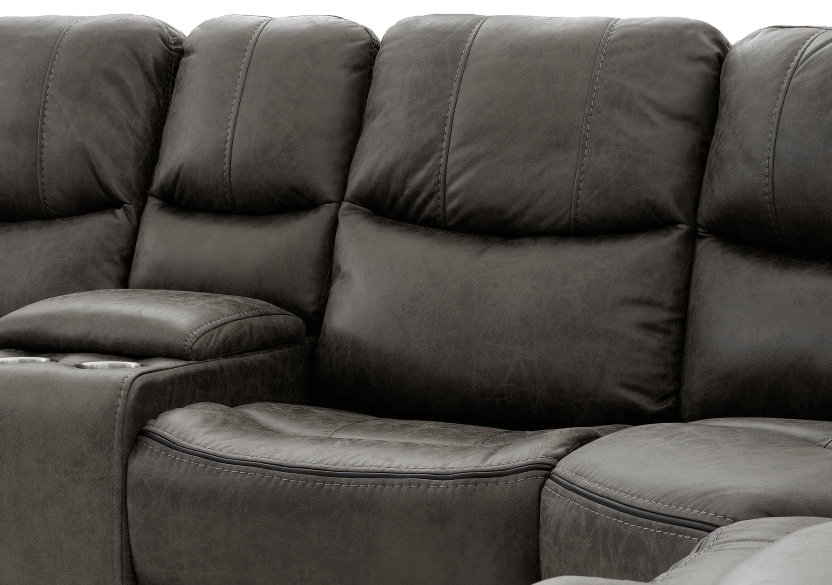 Reclining Electric Fabric Sectional Sofa with Consoles - Dark Grey product photo other06 L