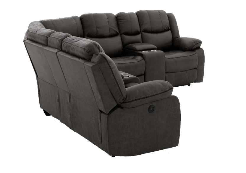 Reclining Electric Fabric Sectional Sofa with Consoles - Dark Grey product photo other08 L