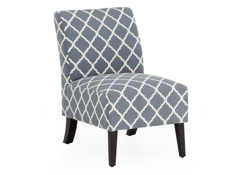 Fabric Accent Chair - Blue White product photo Front View L