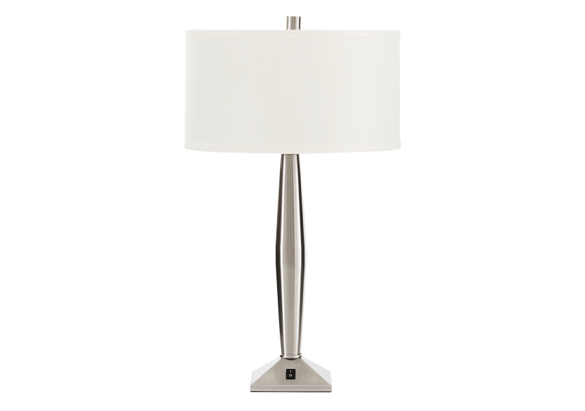Metal Table Lamp with Ivory Fabric Shade product photo Front View L