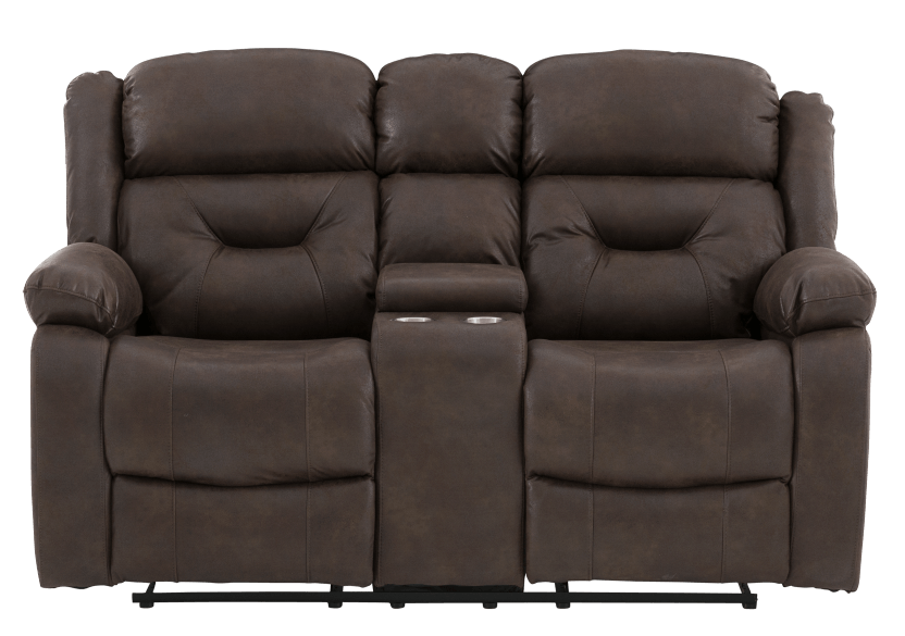 Fabric Reclining Loveseat with Console - Dark Brown product photo