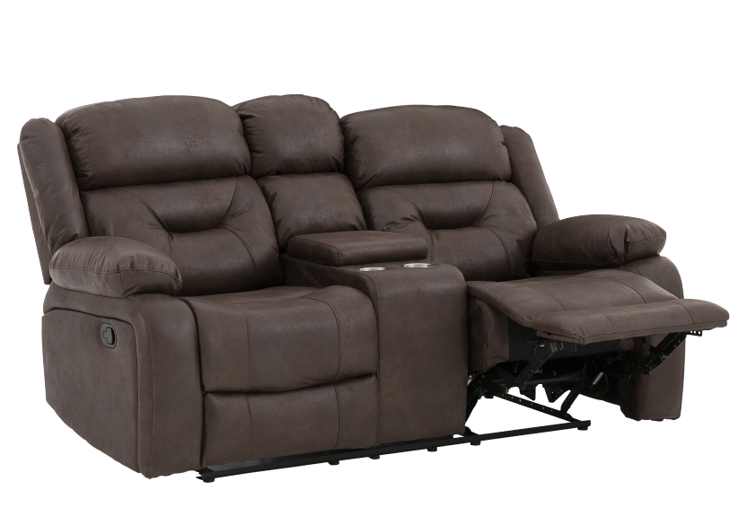 Fabric Reclining Loveseat with Console - Dark Brown product photo other01 L