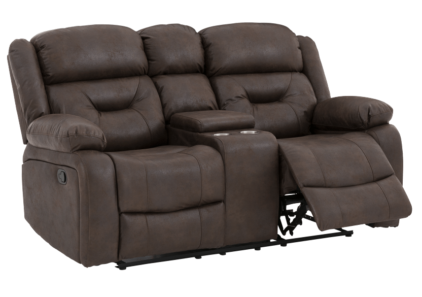 Fabric Reclining Loveseat with Console - Dark Brown product photo other02 L