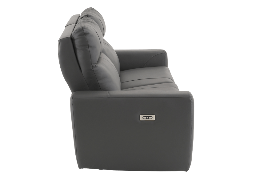 Elran Reclining Electric Sofa with Genuine Leather Seats and Adjustable Headrests - Dark Grey product photo other02 L