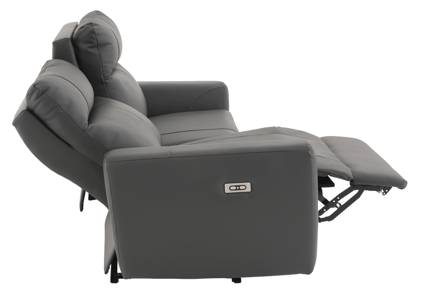 Elran Reclining Electric Sofa with Genuine Leather Seats and Adjustable Headrests - Dark Grey product photo other05 L