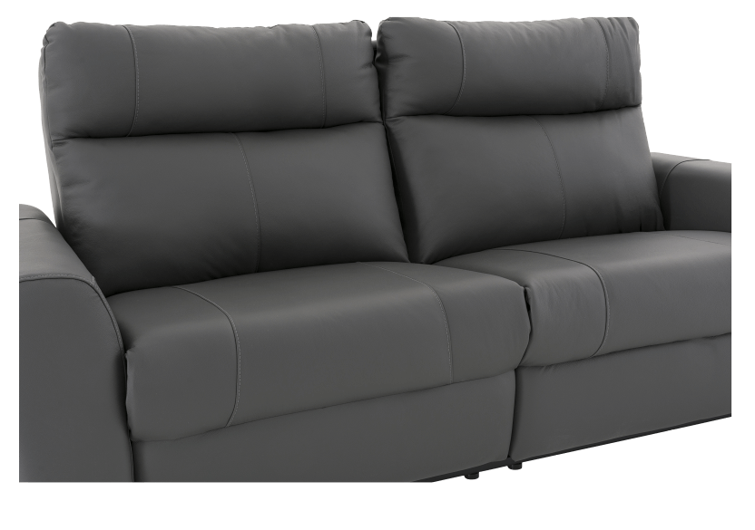Elran Reclining Electric Sofa with Genuine Leather Seats and Adjustable Headrests - Dark Grey product photo other06 L