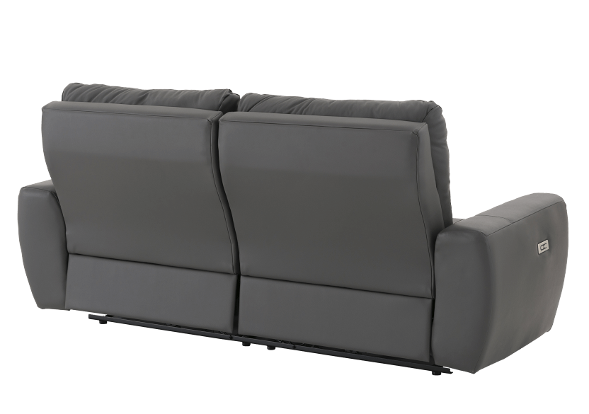 Elran Reclining Electric Sofa with Genuine Leather Seats and Adjustable Headrests - Dark Grey product photo other08 L