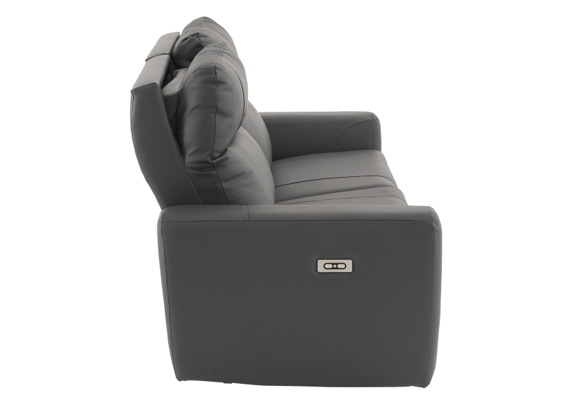 Elran Reclining Electric Sofa with Genuine Leather Seats and Adjustable Headrests - Dark Grey product photo other10 L