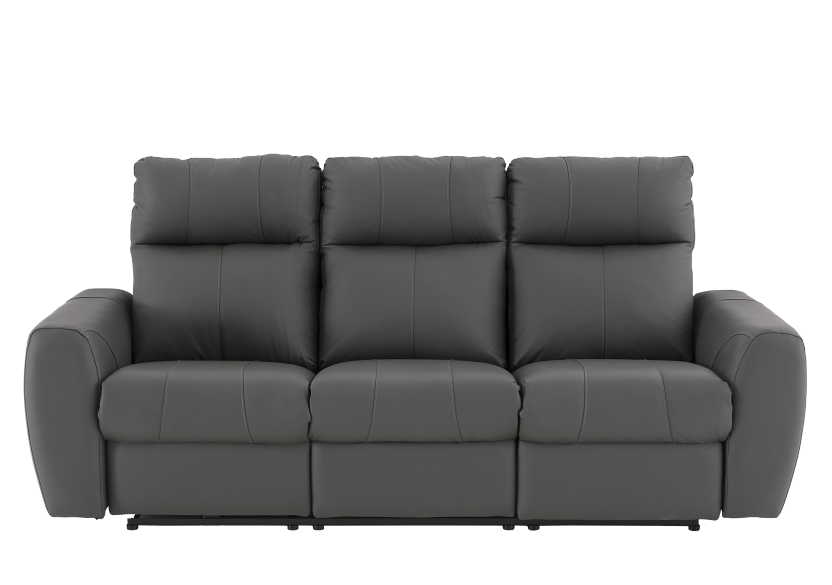 Elran Reclining Electric Sofa with Genuine Leather Seats and Adjustable Headrests - Dark Grey product photo Front View L