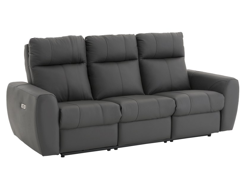 Elran Reclining Electric Sofa with Genuine Leather Seats and Adjustable Headrests - Dark Grey product photo other01 L