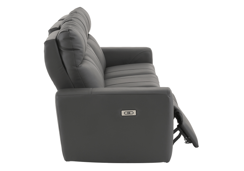 Elran Reclining Electric Sofa with Genuine Leather Seats and Adjustable Headrests - Dark Grey product photo other03 L