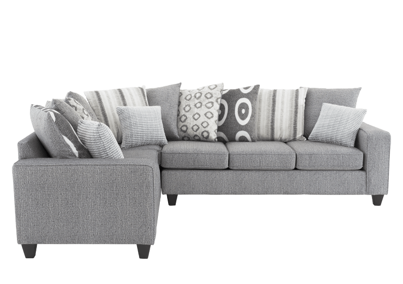Fabric Sectional Sofa with Decorative Pillows - Grey product photo Front View L