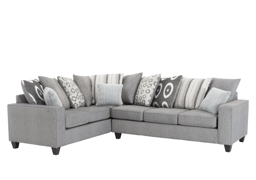 Fabric Sectional Sofa with Decorative Pillows - Grey product photo other01 L