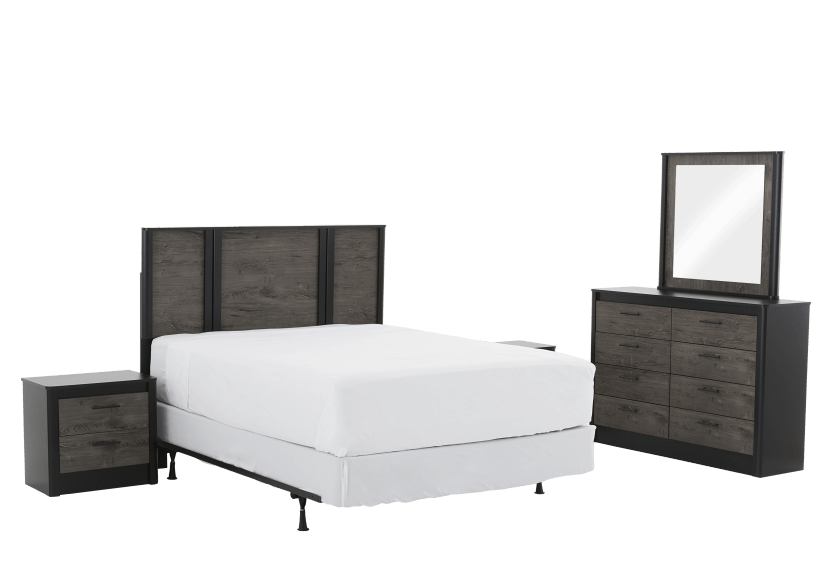 Bedroom Set - Black and Brown Grey - Queen Size product photo Front View L