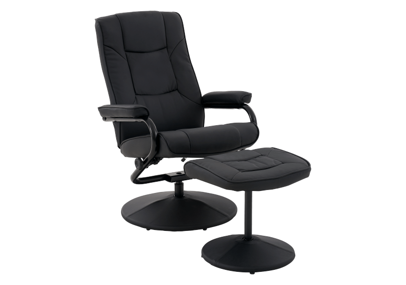 Swivel Recliner with Ottoman - Black product photo other01 L