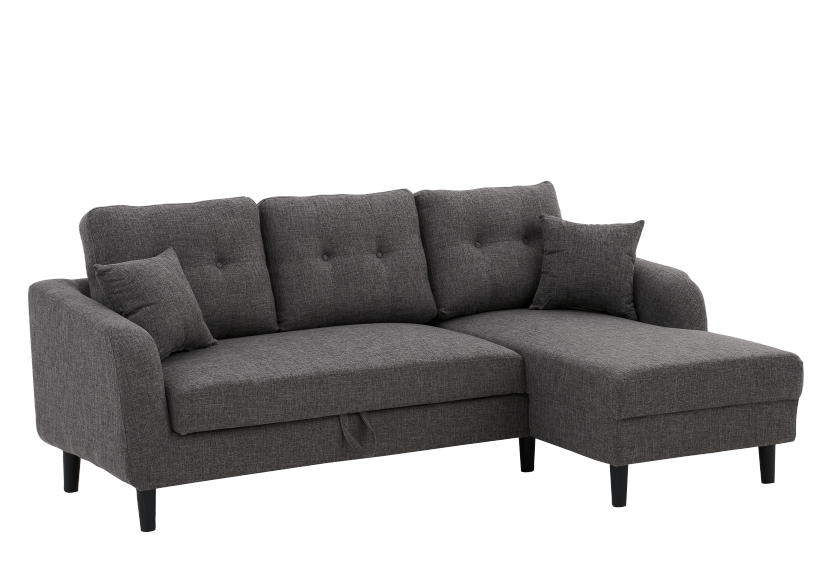 Fabric Sectional Sofa-Bed with Decorative Pillows - Grey product photo other01 L