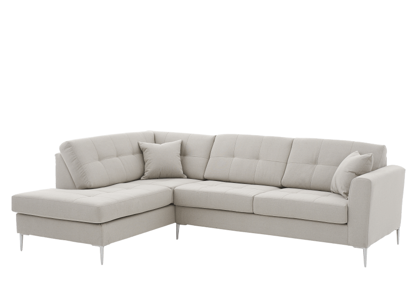 Fabric Sectional Sofa with Decorative Pillows - Beige product photo other01 L