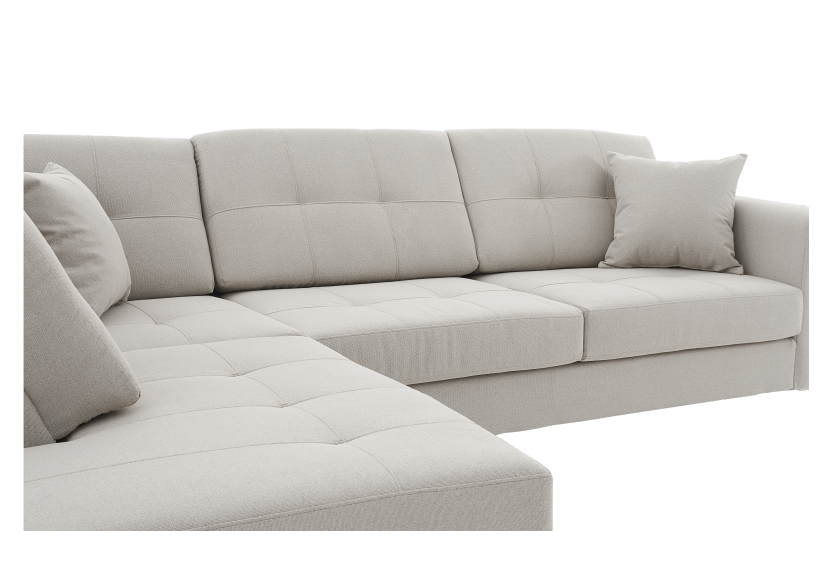 Fabric Sectional Sofa with Decorative Pillows - Beige product photo other03 L