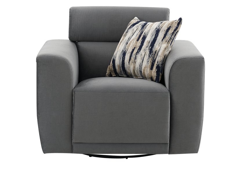 Fabric Swivel Armchair with Decorative Pillow - Grey product photo Front View L