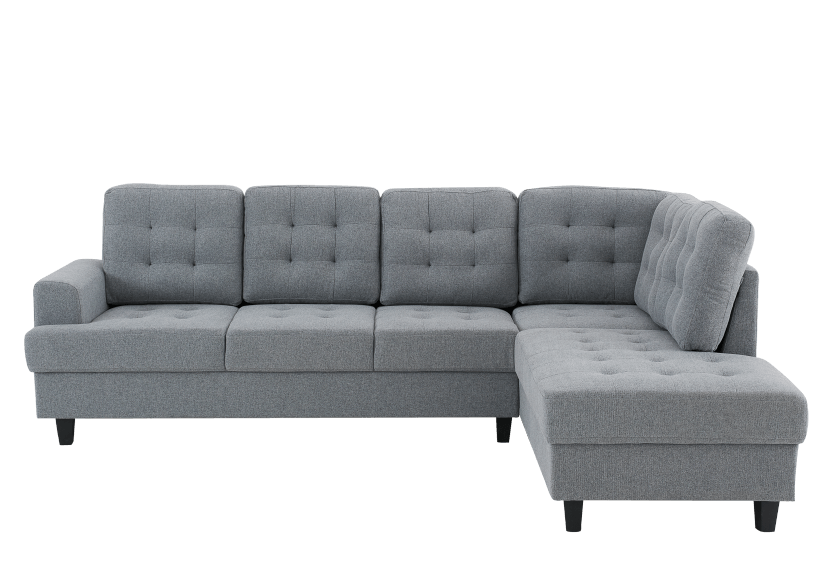 Fabric Sectional Sofa - Grey product photo Front View L