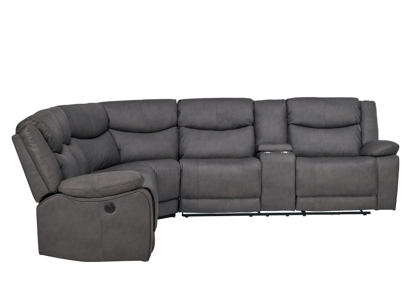 Reclining Motorized Sectional Sofa with Console - Grey product photo