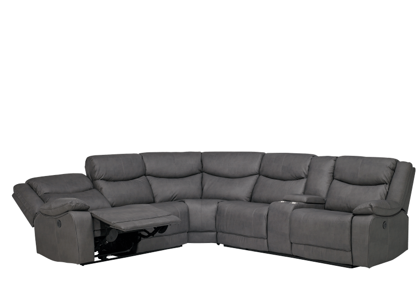 Reclining Motorized Sectional Sofa with Console - Grey product photo other01 L