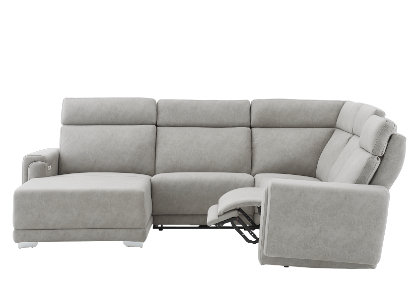 Elran Reclining Battery Motorized Fabric Sectional Sofa with Adjustable Headrests - Grey product photo other04 L