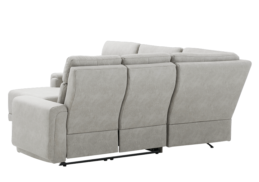 Elran Reclining Battery Motorized Fabric Sectional Sofa with Adjustable Headrests - Grey product photo other08 L