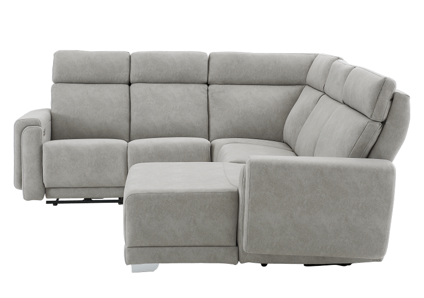 Elran Reclining Battery Motorized Fabric Sectional Sofa with Adjustable Headrests - Grey product photo