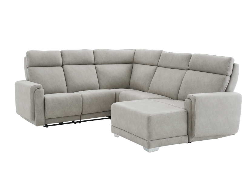 Elran Reclining Battery Motorized Fabric Sectional Sofa with Adjustable Headrests - Grey product photo other01 L