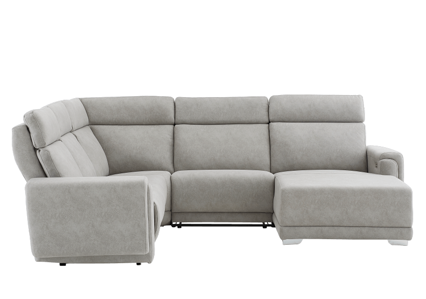 Elran Reclining Battery Motorized Fabric Sectional Sofa with Adjustable Headrests - Grey product photo other02 L