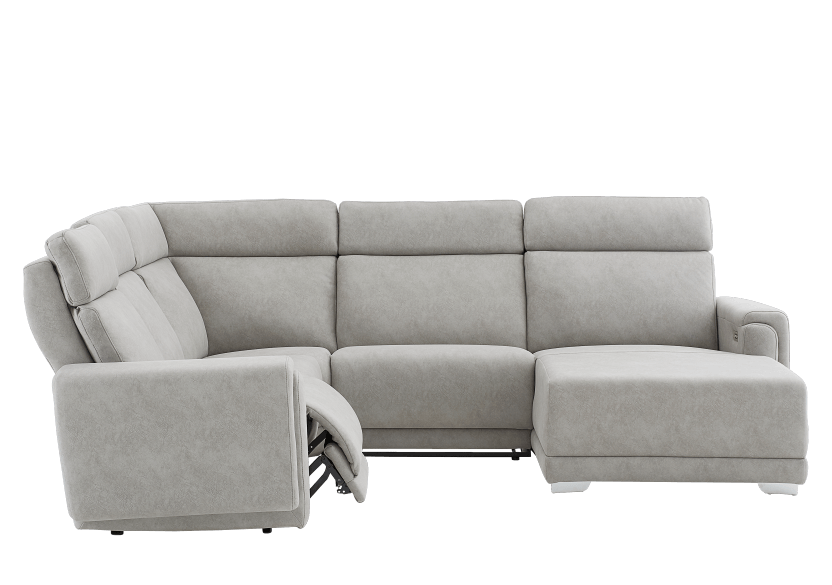Elran Reclining Battery Motorized Fabric Sectional Sofa with Adjustable Headrests - Grey product photo other03 L