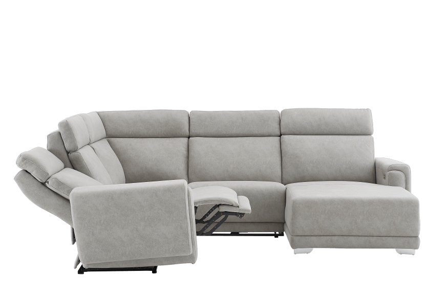 Elran Reclining Battery Motorized Fabric Sectional Sofa with Adjustable Headrests - Grey product photo other05 L
