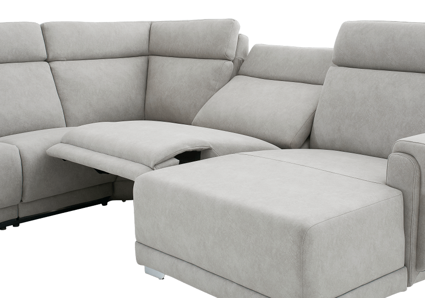 Elran Reclining Battery Motorized Fabric Sectional Sofa with Adjustable Headrests - Grey product photo other06 L