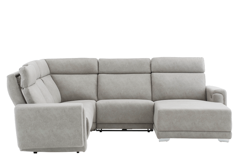 Elran Reclining Battery Motorized Fabric Sectional Sofa with Adjustable Headrests - Grey product photo other11 L